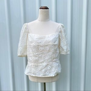 Forcast Floral Top Size 16 Square Neck Puff Sleeve Eyelet Picnic Cottagecore